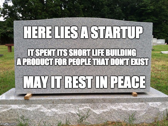 here lies a startup, it spent its short life building a product for people that don't exist, may it rest in peace
