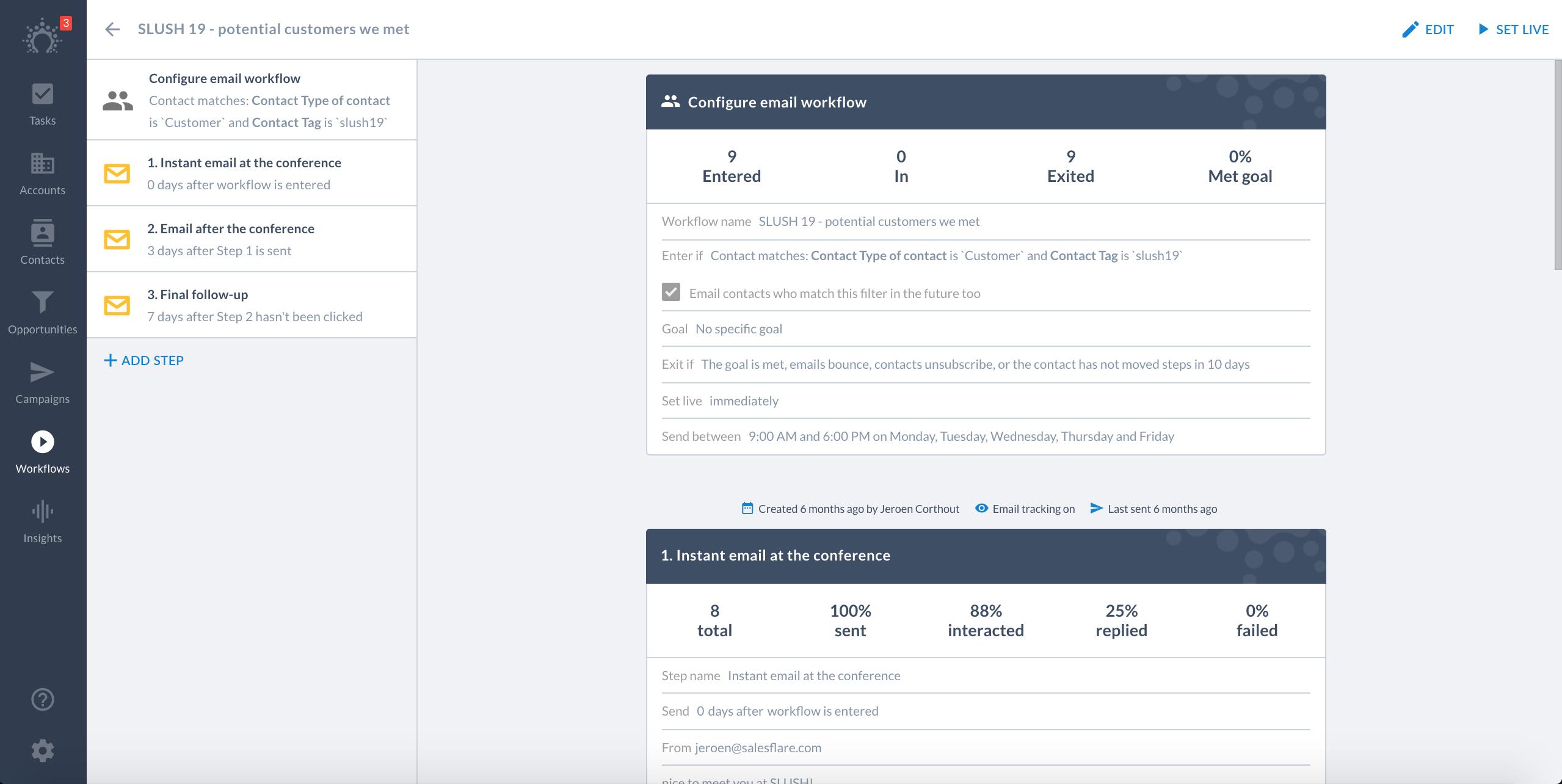 salesflare workflows